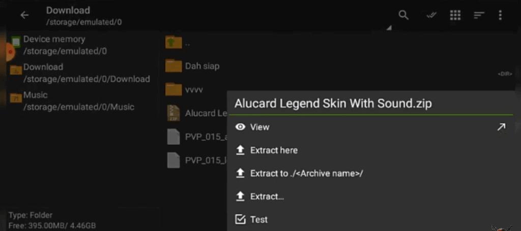 extract alucard legend skin zip file